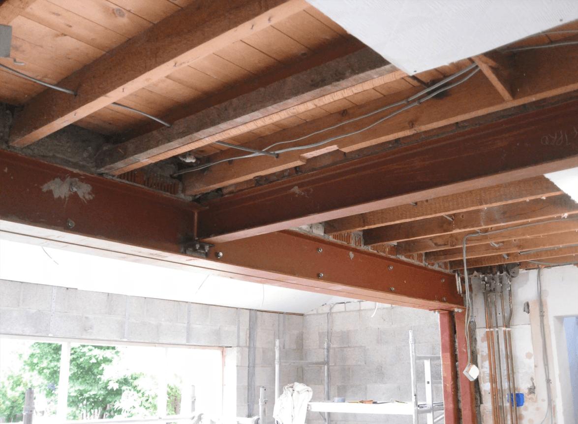 Steel beams installed